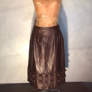 Oscar de la Renta Brown Leather Lambskin Skirt L21